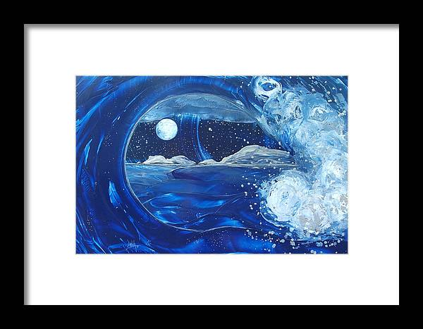 Wave Framed Print featuring the painting Midnight Moon by Danita Cole
