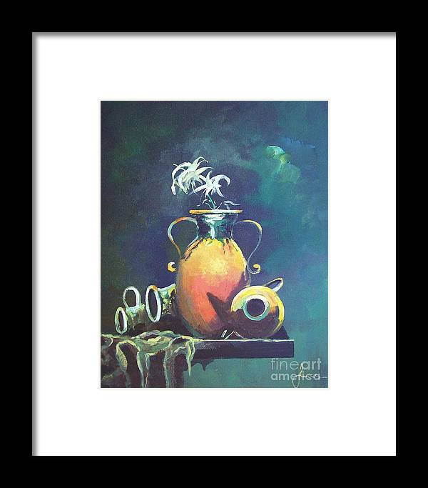 Still Life Framed Print featuring the painting Midnight Moon by Sinisa Saratlic