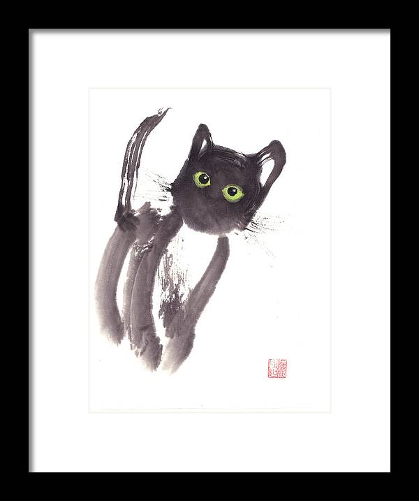 A Curious Black Kitten. This Is A Contemporary Chinese Ink And Color On Rice Paper Painting With Simple Zen Style Brush Strokes.  Framed Print featuring the painting Midnight by Mui-Joo Wee