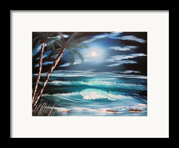 Seascape Framed Print featuring the painting Midnight Ocean by Sheldon Morgan