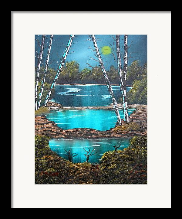 Landscape Framed Print featuring the painting Midnight Ponds by Sheldon Morgan