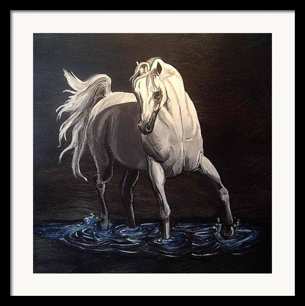 Equine Framed Print featuring the painting Midnight Prance by Glenda Smith