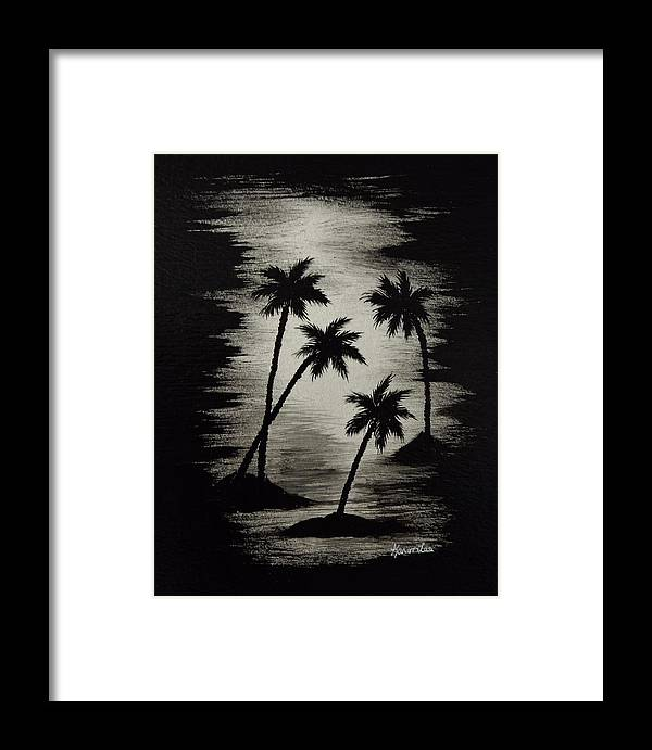Palm Trees Framed Print featuring the painting Midnight Sands by Karen Lee
