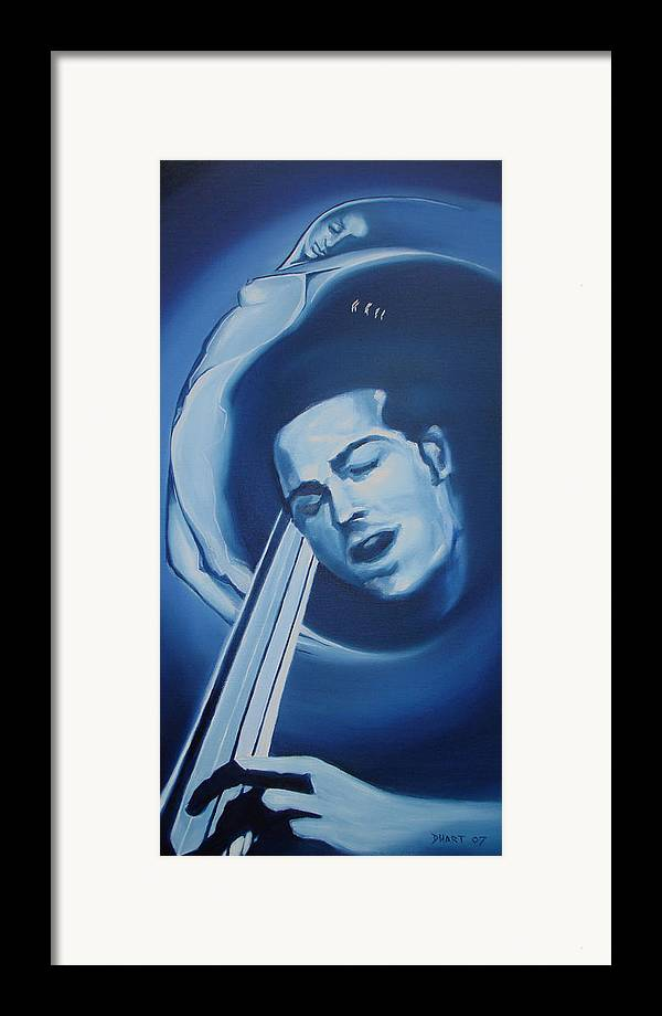 Abstract Figurative Nude Music Blue Moods Framed Print featuring the painting Midnight Serenade by Davinia Hart