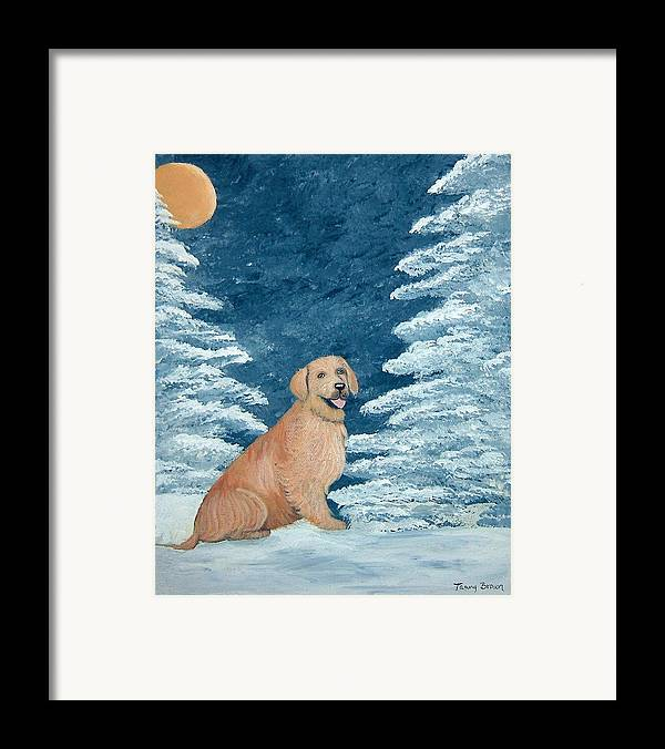 Golden Retriever Framed Print featuring the painting Midnight Snow by Tammy Brown