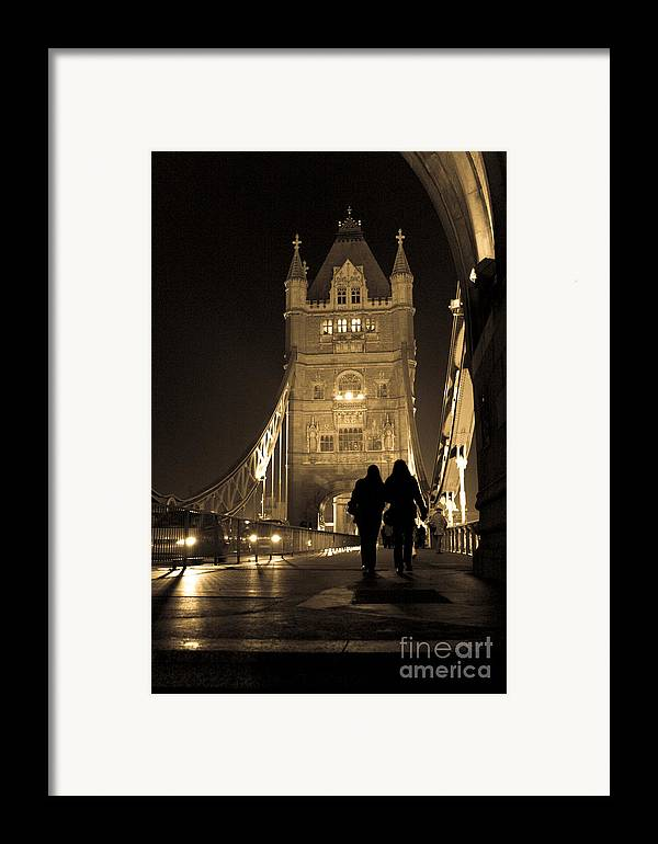 London Framed Print featuring the photograph Midnight Stroll Over The Bridge by Joshua Francia
