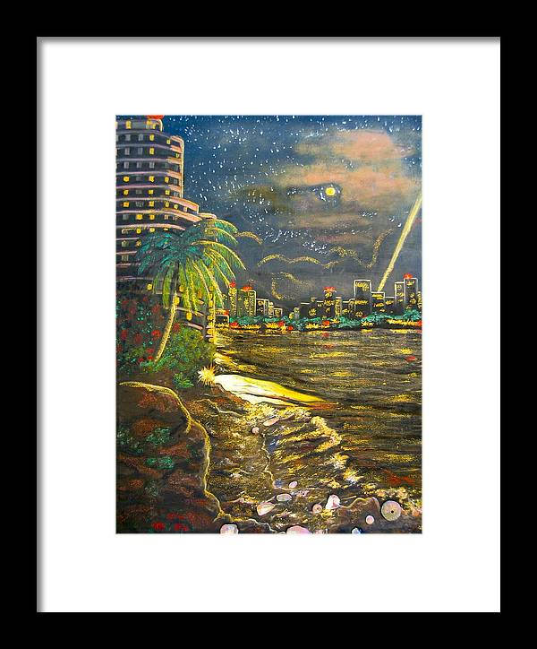City Lights Framed Print featuring the painting Midnight Sun by V Boge