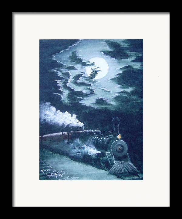 Landscape Framed Print featuring the painting Midnight Train by KC Knight