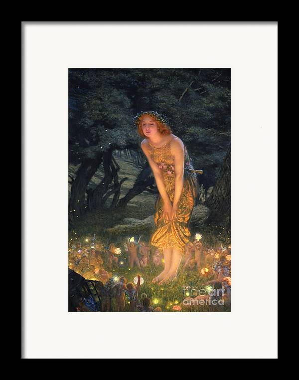 Pre Raphaelite Framed Print featuring the painting Midsummer Eve by Edward Robert Hughes