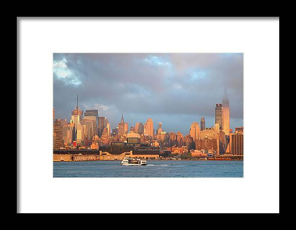 Manhattan. Mid-town Framed Print featuring the photograph Midtown At Sunset by Frank Mari