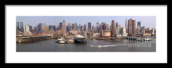 Manhattan Framed Print featuring the photograph Midtown Manhattan Panorama by Thomas Marchessault