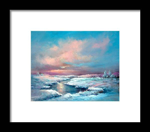 Snow Framed Print featuring the painting Midwest Snowfall by Sally Seago
