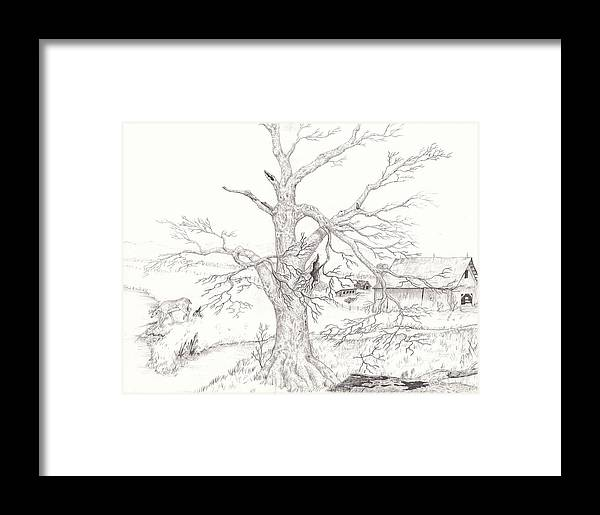 Realistic Drawing Framed Print featuring the drawing Midwest Usa by Dan Theisen
