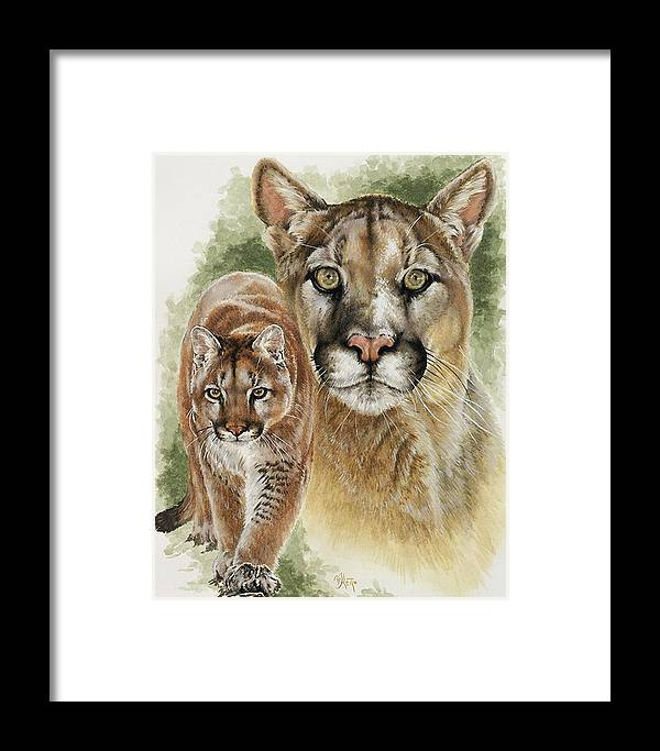Cougar Framed Print featuring the mixed media Mighty by Barbara Keith