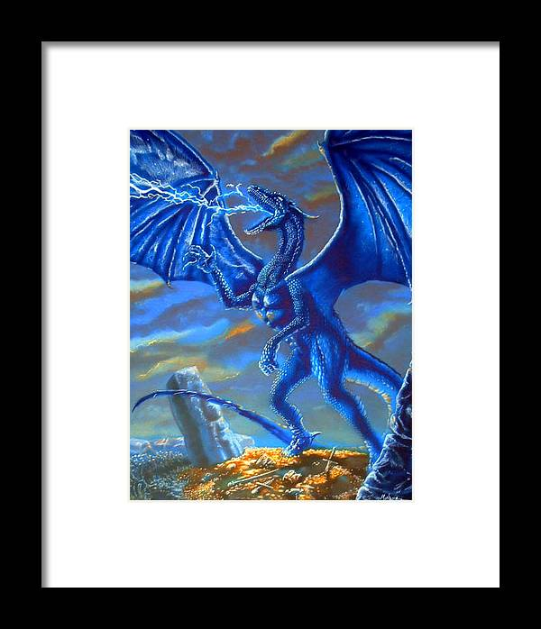 Dragon Framed Print featuring the mixed media Mighty Blue by Daniel Monroe