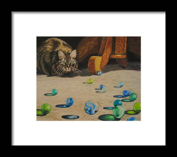 Cats Framed Print featuring the drawing Mighty Hunter by Karen Ilari
