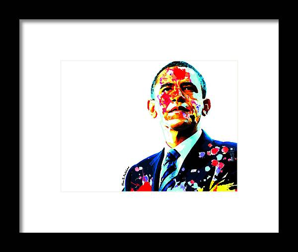Barack Obama Framed Print featuring the digital art Mighty Warrior by Alex Antoine