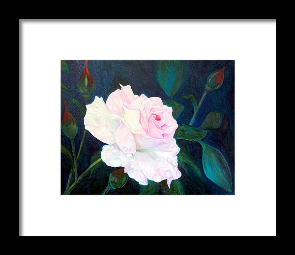 Flowers Framed Print featuring the painting Midnight Rose by John Gabb