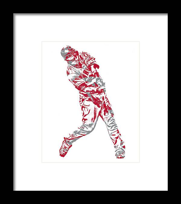 Mike Trout Framed Print featuring the mixed media Mike Trout Los Angeles Angels Pixel Art 20 by Joe Hamilton