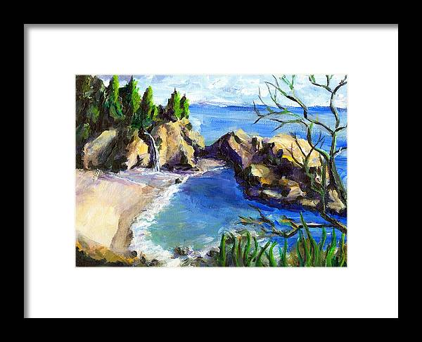 Waterfall Framed Print featuring the painting Mikes Beach by Randy Sprout