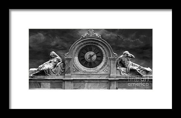 Milan Clock Framed Print featuring the photograph Milan Clock In Black And White by Gregory Dyer