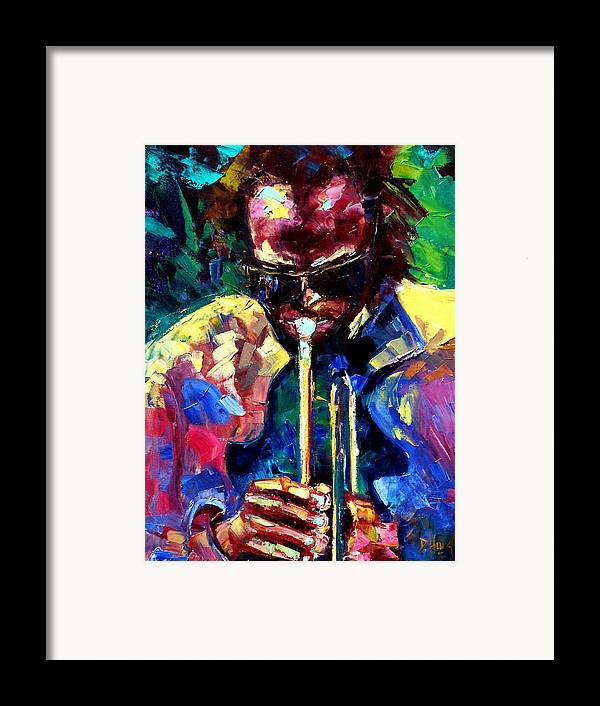 Jazz Framed Print featuring the painting Miles And Yellow by Debra Hurd