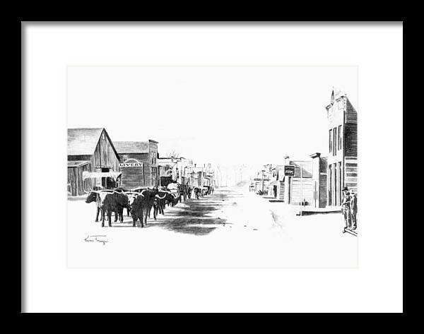 Western Framed Print featuring the drawing Miles City 1883 by Karen Elkan