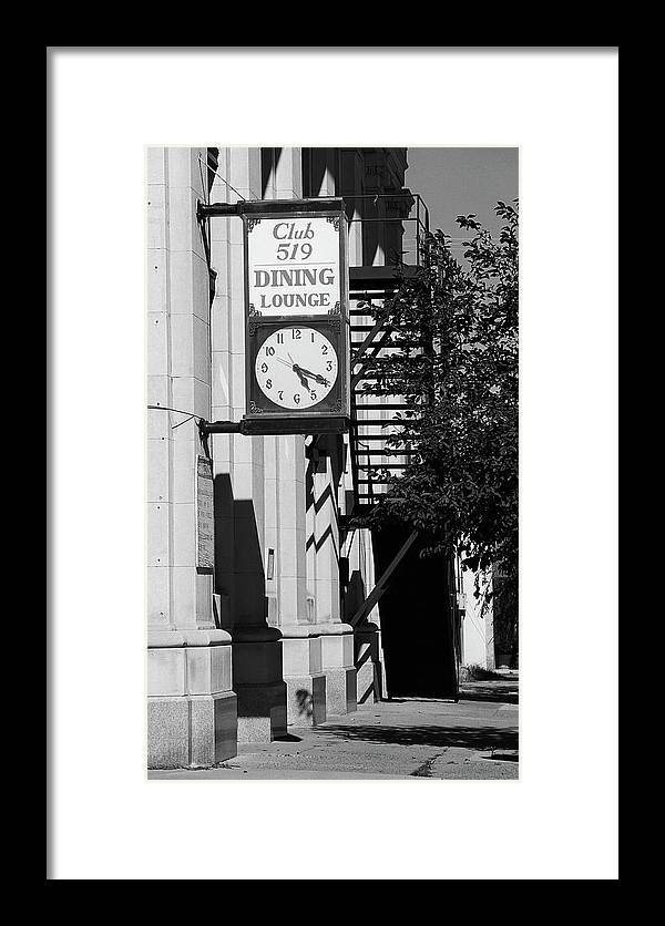 America Framed Print featuring the photograph Miles City, Montana - Downtown Clock Bw by Frank Romeo