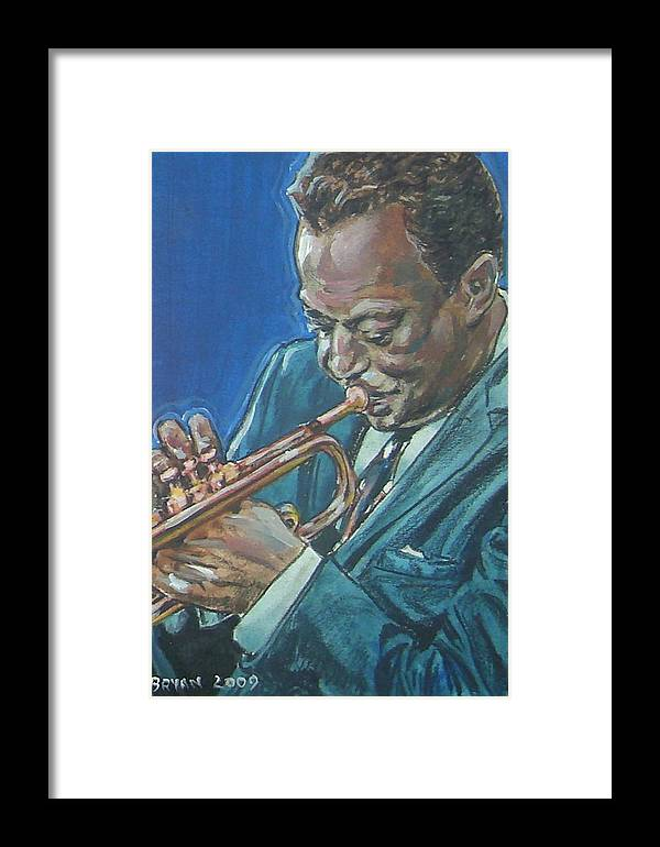 Miles Davis Framed Print featuring the painting Miles Davis by Bryan Bustard