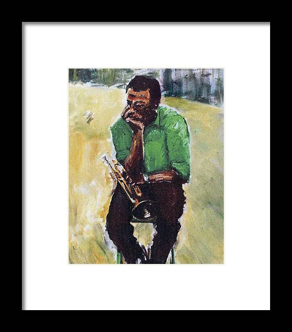 Jazz Oil Paintings Portraits Miles Davis Framed Print featuring the painting Miles Davis With Green Shirt by Udi Peled