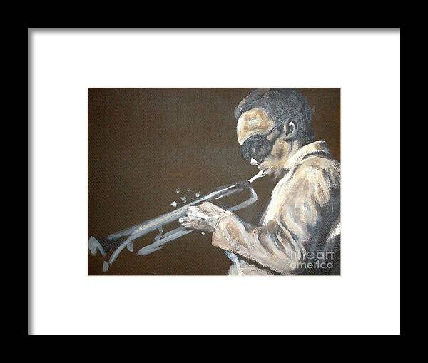 Miles Davis Framed Print featuring the painting Miles I by Pete Maier