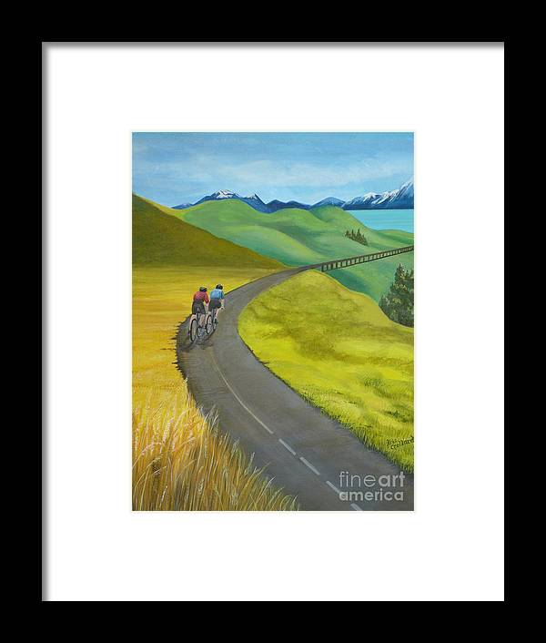Bicycles Framed Print featuring the painting Miles To Go by Kris Crollard