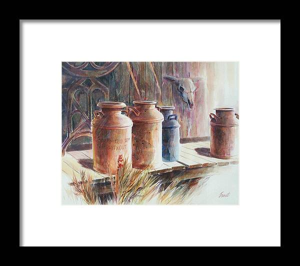 Old Milk Cans Framed Print featuring the painting Milk Run by Don Trout