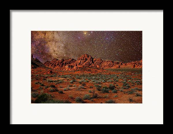 Desert Framed Print featuring the photograph Milky Way Rising Over The Valley Of Fire by Charles Warren
