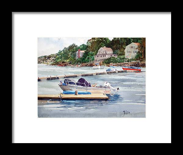 Peter Sit Watercolor Framed Print featuring the painting Mill River Gloucester by Peter Sit