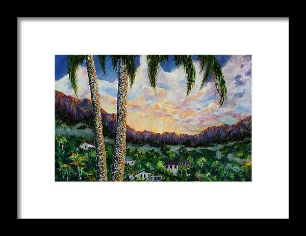 Landscape Hawaii Framed Print featuring the painting Miller's View by Thomas Restifo