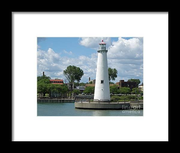 Detroit Framed Print featuring the photograph Milliken State Park Lighthouse by Ann Horn