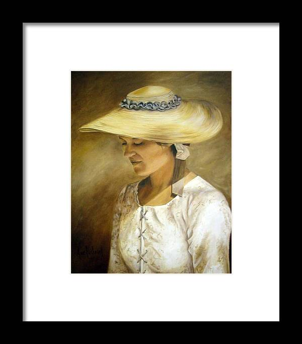 Portrait Framed Print featuring the painting Milliners Daughter by Anne Kushnick