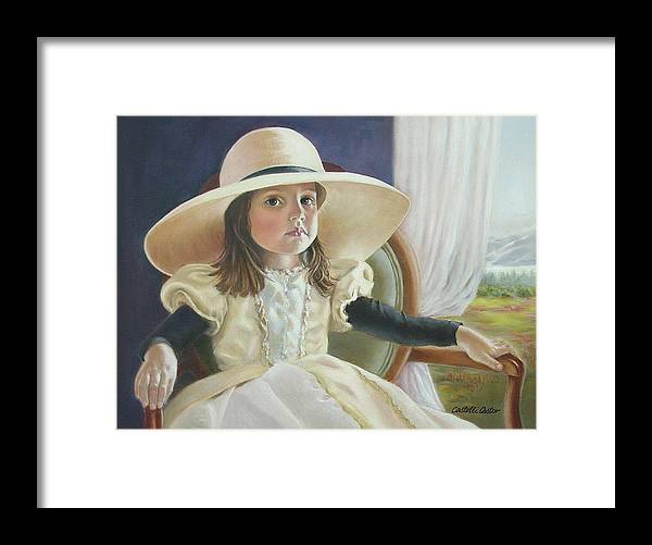 Portrait Framed Print featuring the painting Mimi's Hat by JoAnne Castelli-Castor