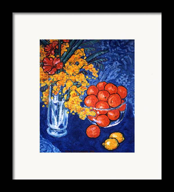 Still Life Framed Print featuring the painting Mimosa And Tangerines by Paul Herman