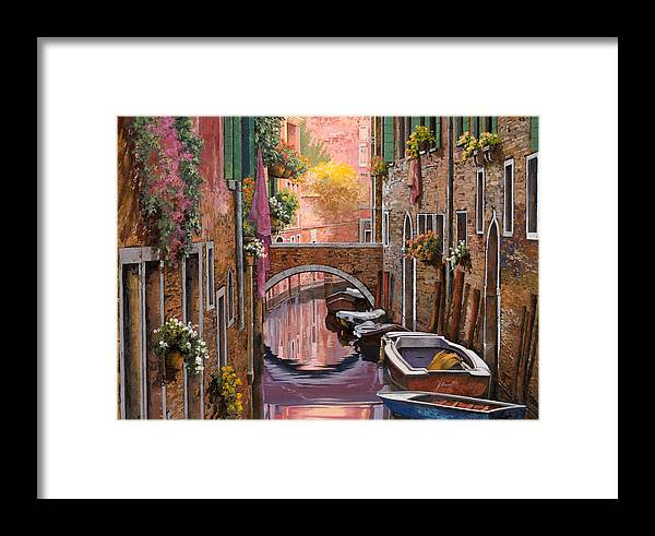 Venice Framed Print featuring the painting Mimosa Sui Canali by Guido Borelli