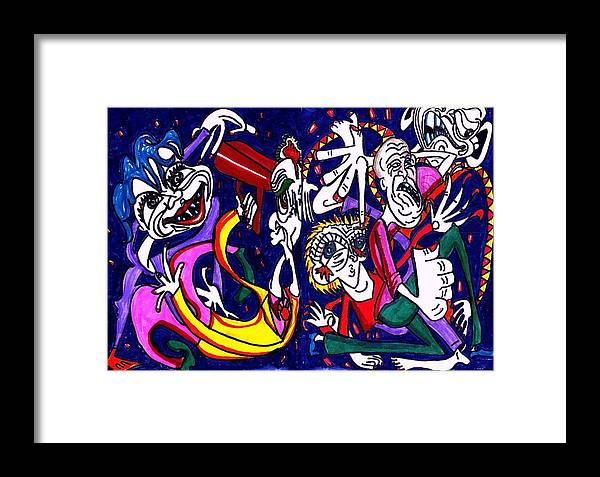 Blue Framed Print featuring the drawing Mind Slap by Richard Hubal