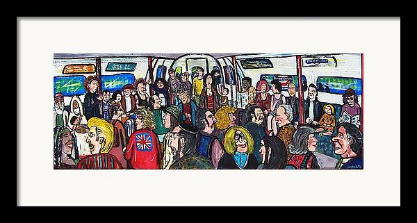People Framed Print featuring the painting Mind The Gap by Richard Hubal