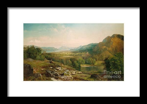 Thomas Moran Framed Print featuring the painting Minding The Flock by Thomas Moran