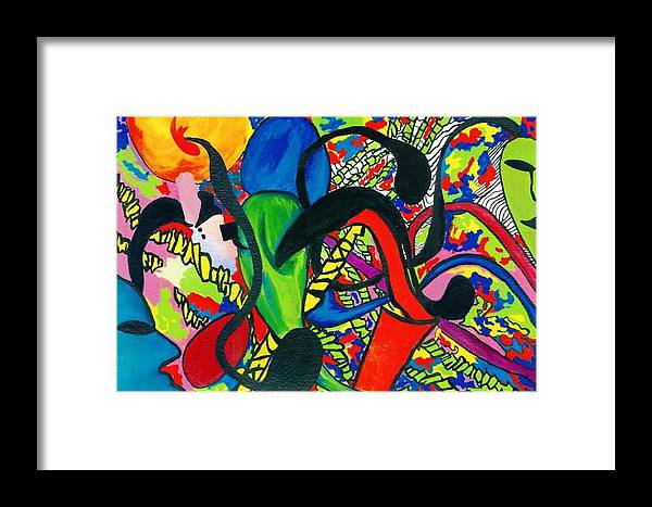 Abstract Framed Print featuring the painting Mindwars by Katina Cote