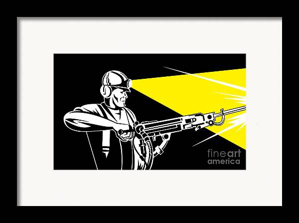 Illustration Framed Print featuring the digital art Miner With Jack Leg Drill by Aloysius Patrimonio