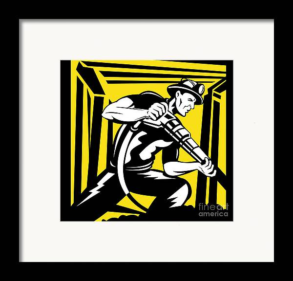 Illustration Framed Print featuring the digital art Miner With Pneumatic Drill by Aloysius Patrimonio