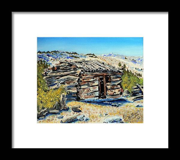 Mining Framed Print featuring the painting Miner's Cabin by Dan Bozich