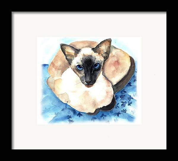 Feline Framed Print featuring the painting Ming by Gina Hall