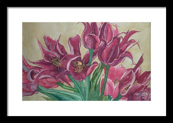 Watercolor Framed Print featuring the painting Mini-tulip Bouquet - 8 by Caron Sloan Zuger